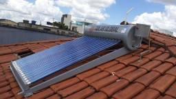 Aquecedor solar a vacuo 24 tubos totalmente instalado