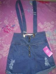 Short jeans com Suspensório