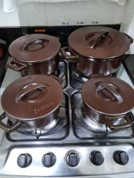 Conjunto de Panelas de Cerâmica Duo+, 5 Peças, Chocolate, Ceraflame - usado