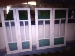 2 pares de Janelas antiga vidro verde e branco