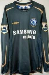 faed879126 Chelsea Camisa de Goleiro Centenário Premier League 2005 2006 Cech  1  Versão Jogador