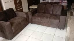 Conjunto Sofa 3 x 2 Lugares Tecido Sued amassado