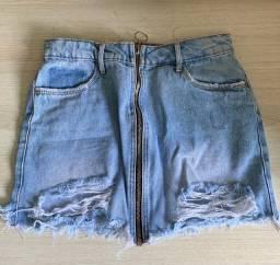 Saia jeans de zíper