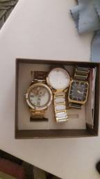 Relógio feminino 2 Technos e 1 dumont