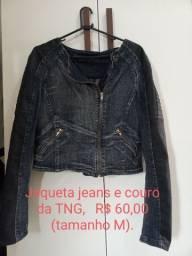 Jaqueta jeans e couro da TNG.