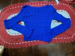 Vendo casaco de crochê azul