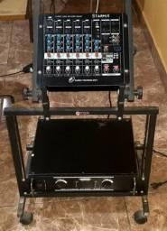 Mesa de som mixer 6 canais starmix us602r (mas amplificador pa 300 com mesa de transporte)