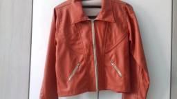 Jaqueta de couro fake laranja da For Use original