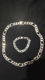 Corrente de Prata 925 (60cm)+Pulseira de Prata (20cm)