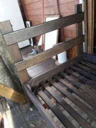 Cama de solteiro em madeira maciça angelin