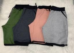 Shorts moletons lisos e estampados