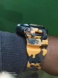 Relógio Masculino Militar Smael Exército CORES PRETA E LARANJA CAMUFLADO