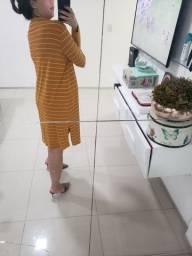 Cardigan maxi amarelo em crepe de malha Acqua