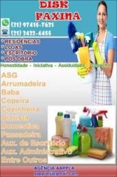 1.Diarista, Passadeira, Cozinheira, Faxineira, Folguista