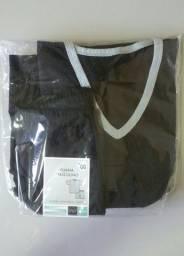Pijama Manga Curta Preto 100%algodão GG