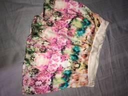 Short saia de seda