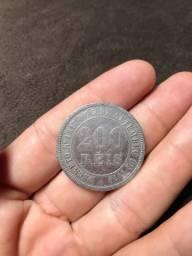 Moeda antiga rara 200 Reis 1874