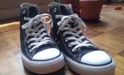 Tênis All Star Cano Alto, cor preto, usado apenas uma vez, estado de novo!! (Tam 39)