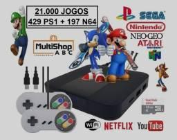 Retrô Game Box - Vídeo Game com 2 Controles Bluetooth 64gb