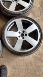 Rodas aro 19 com 4 pneus  e mais 2 zero sem montar furação  5x100