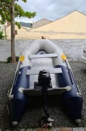 Bote inflável com motor evinrude 4 tempos 3.5 hp