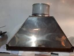 Coifa com exaustor 100% inox motor age 1,25x1,00 com tubulação completa