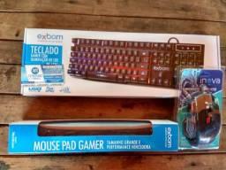 KIT Gamer = Teclado Semi Mecânico -mouse gamer - mouse pad grande