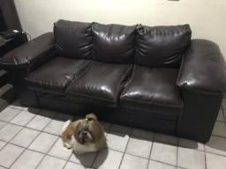 Sofá de 3 lugares couro