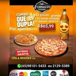 2 pizza grande 2 borda cheddar 1 guarana 1/5