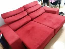 Sofá de 2 lugares reclinável, vermelho