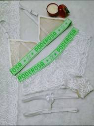 Lingerie Conjunto Poderosa Verde com branco