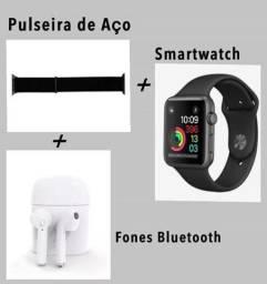 Smartwatch Iwo max 2.0 + Pulseira de Aço + Fone Bluetooth I7 TWS