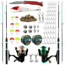 Conjunto Para Pesca Completo 2 Varas + 2 Molinetes + Acessórios