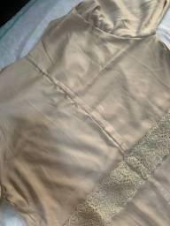 Vestido de festa claro plus size GG - cetim de algodão com bordado