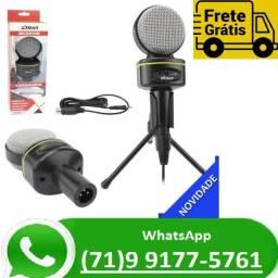 Microfone Multimídia Condensador Gravação P2 Tripé Profissional (NOVO)