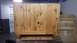 Painel de tv rústico em madeira natural sustentável