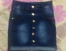 Linda saia jeans 36/38 com lycra