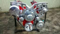 Kit serpentina completa motores v8 em aluminio usinado em cnc