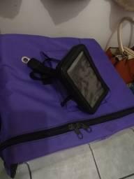 Bag para delivery e suporte celular para moto
