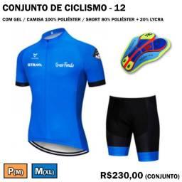 Camisa + Bretelle de Ciclismo Strava Azul