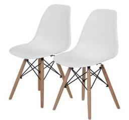 Conjunto com 3 cadeiras Charles Eames Wood/Branco