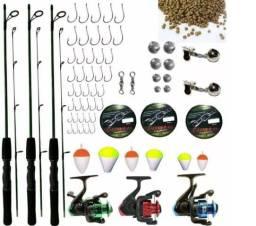 Kit Pesca Completo 3 Varas, 3 Molinetes + Acessórios