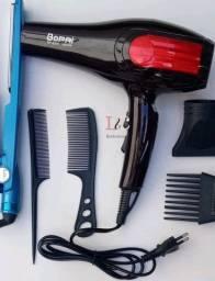 Prancha titaniun e secador de cabelo bopai hair profissional