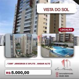 Apartamento Condomínio Vista do Sol, 138m², 3 suítes, andar alto, 2 vagas, Ótima Vista