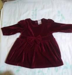Vestido infantil veludo molhado