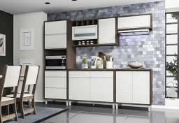 Cozinha Modulada Stella 5 Peças 2,70m Noce OffWhite Indekes - 6134<br><br>