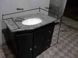 Gabinete para banheiro , tampo em granito e cuba.