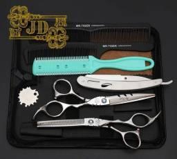 Kit tesoura japonesa barbeiro profissional- tesoura, navalha e pentes