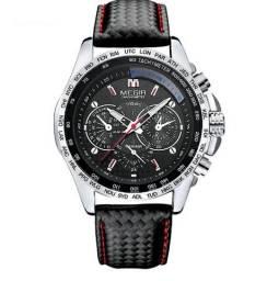 Relógio de Couro Legítimo Megir Confortável Resistente à Água 100% Novo e Original