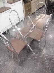 Mesa 4 Cadeiras Aço inox